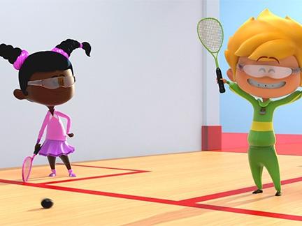 Canal J, enfants, Théo, sport, bande de sportifs, squash, émission, télé, série