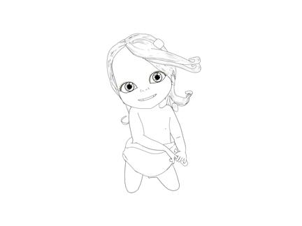 Bébé Lilly à genoux