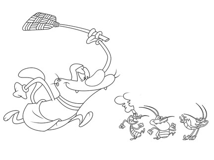 Coloriage - Oggy poursuit les cafards