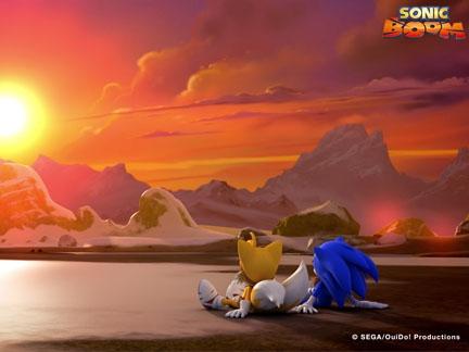 Sonic et Tails au couché du soleil