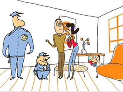 Les parents de Toto et policiers
