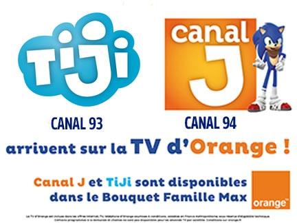 Canal J et TiJi sur la TV d'Orange