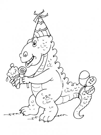 Coloriage Anniversaire Dinosaure : Stégosaure