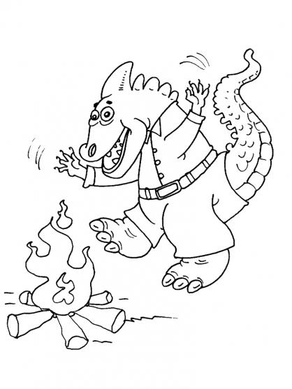 Coloriage Dinosaure et feu de bois