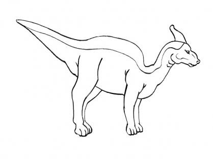 Coloriage Dinosaure : Parasaurolophus