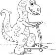 Coloriage Dinosaure : Parasemrolophus en trotinette