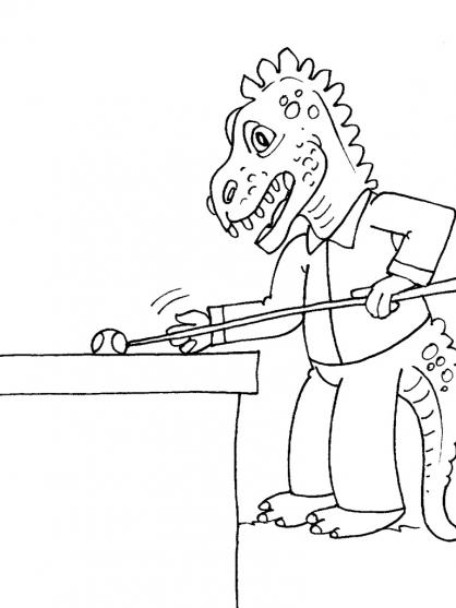 Coloriage Dinosaure qui joue au billard
