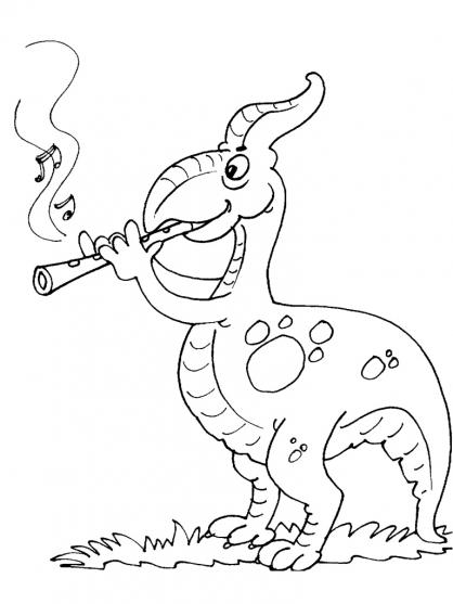 Coloriage Dinosaure qui joue de la flûte