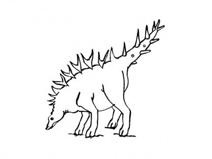 Coloriage Dinosaure : Stégosaurus