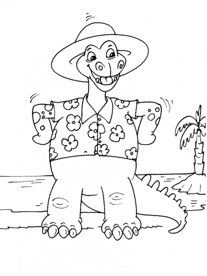 Coloriage Dinosaure : Terrontasaurus à la plage