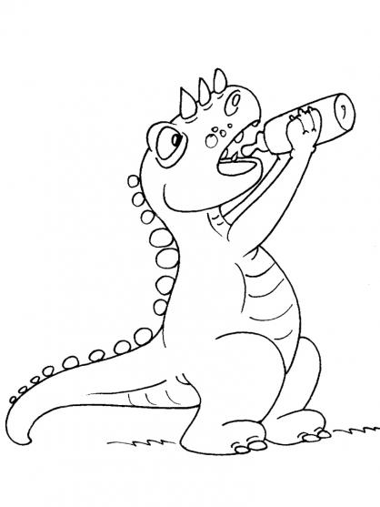 Coloriage Dinosaure : Tricéralops avec un biberon