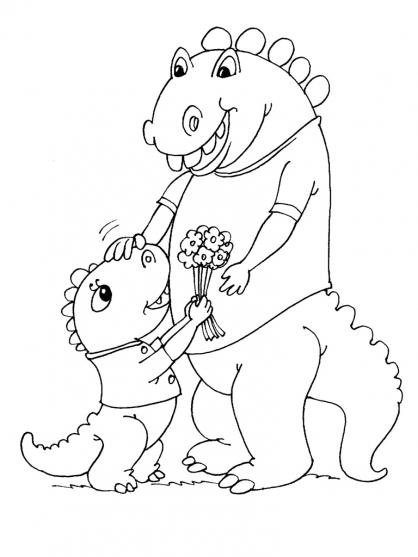 Coloriage Maman Dinosaure et son petit