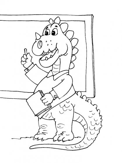 Coloriage Professeur Dinosaure