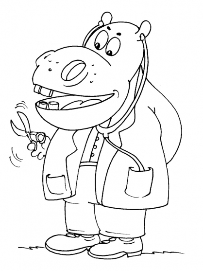 Coloriage Hippopotame 24