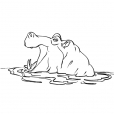 Coloriage Hippopotame 8