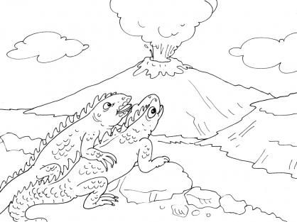 Pin le coloriage volcan dinosaure pour imprimer on pinterest - Volcan coloriage ...