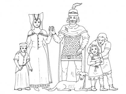Coloriage princesse du moyen age - Dessin moyen age ...