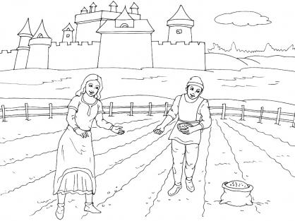 Dessin paysans coloriage sketch coloring page - Dessin moyen age ...