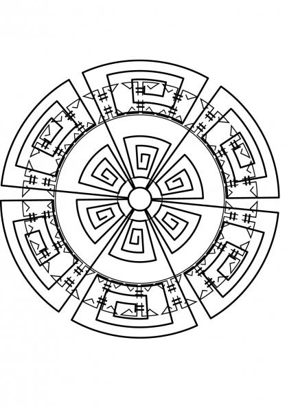 Coloriage mandala azteque coloriage mandalas coloriage chiffres et formes - Dessin azteque ...