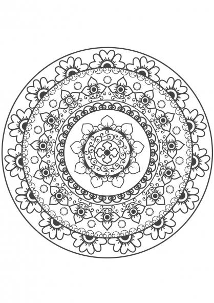 Coloriage mandala fleur 10 coloriage mandalas coloriage chiffres et formes - Coloriage fleur mandala ...