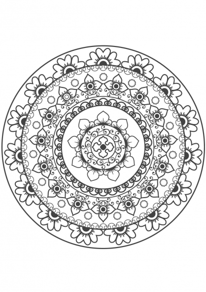 Coloriage Mandala fleur 10