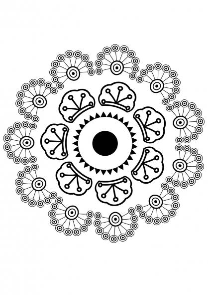 Coloriage Mandala fleur 6