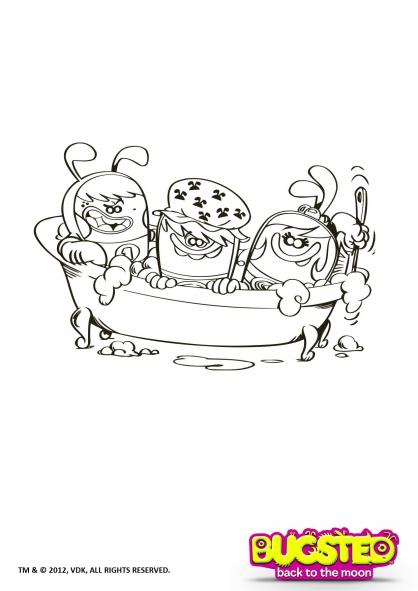 Coloriage Bugsted : Prêts pour le bain !
