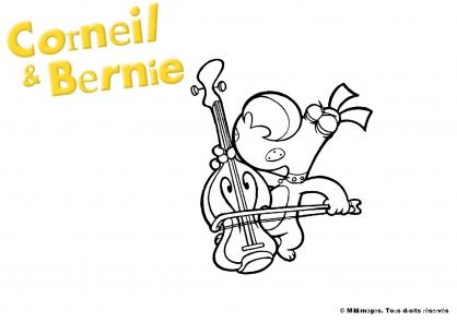 Coloriage Corneil et Bernie :  Corneil joue du violoncelle