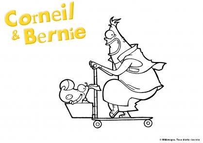 Coloriage Corneil et Bernie : en trottinette