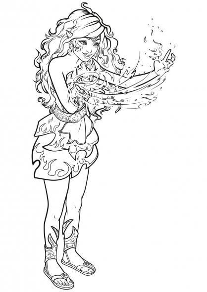 Coloriage Elves : Azari, l'Elfe du feu