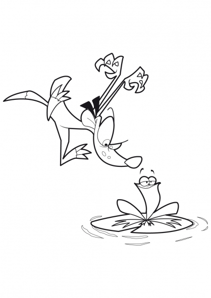 Coloriage Frog et Fou Furet  13