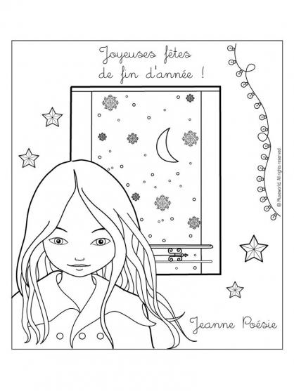 Coloriage Jeanne Poésie 1