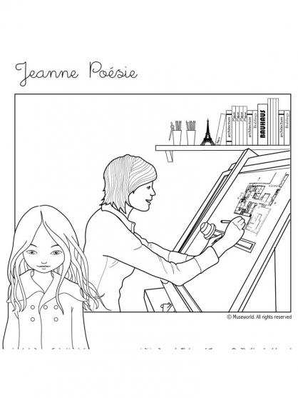 Coloriage Jeanne Poésie 16