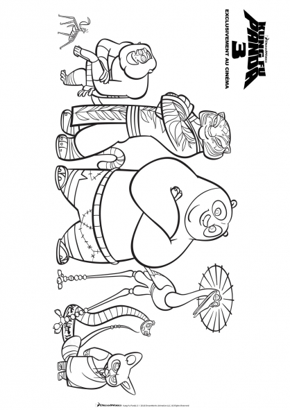 Coloriage Maitre Shifu et ses eleves