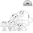 Coloriage Papa, Maman, Darwin, Gumball et Anais