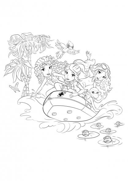 Coloriage coloriage-friends-bateau