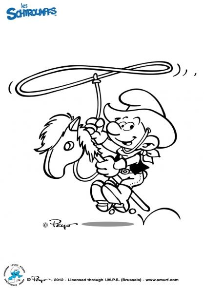 Coloriage Les Schtroumpfs : Cow-Boy
