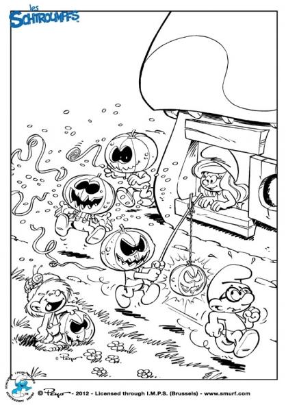 Coloriage Les Schtroumpfs : Halloween