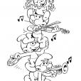 Coloriage Les Schtroumpfs : Musiciens