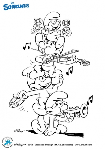 Coloriage les schtroumpfs musiciens coloriage les - Dessin musicien ...