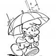 Coloriage Les Schtroumpfs : Pluie