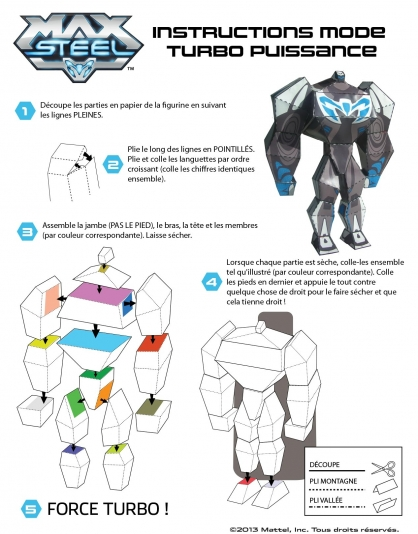 Coloriage Max Steel : La figurine Mode Turbo Puissance Instructions