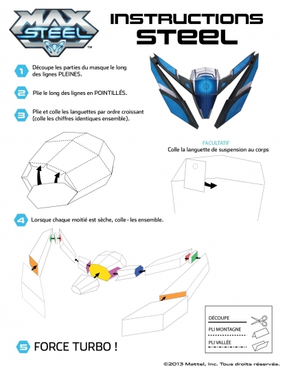 Coloriage Max Steel : La Maquette Steel Instructions