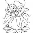 Coloriage Maya et Willy dans la fleur