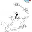 Coloriage Oggy chasse les cafards