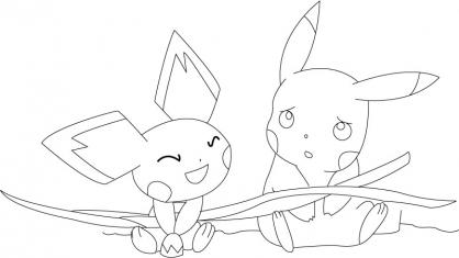 Coloriage Pikachu et Pichu