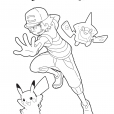 Coloriage Sacha, Pikachu et Rotom Dex