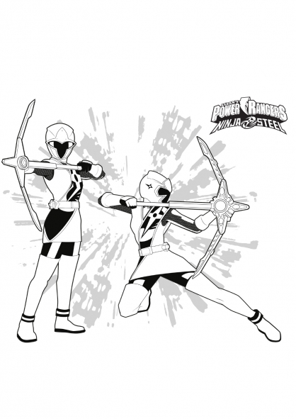 Coloriage Ranger Rose et Ranger Blanc