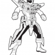 Coloriage Power Rangers Argent en Armure