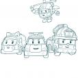 Coloriage Robocar Poli : l'équipe